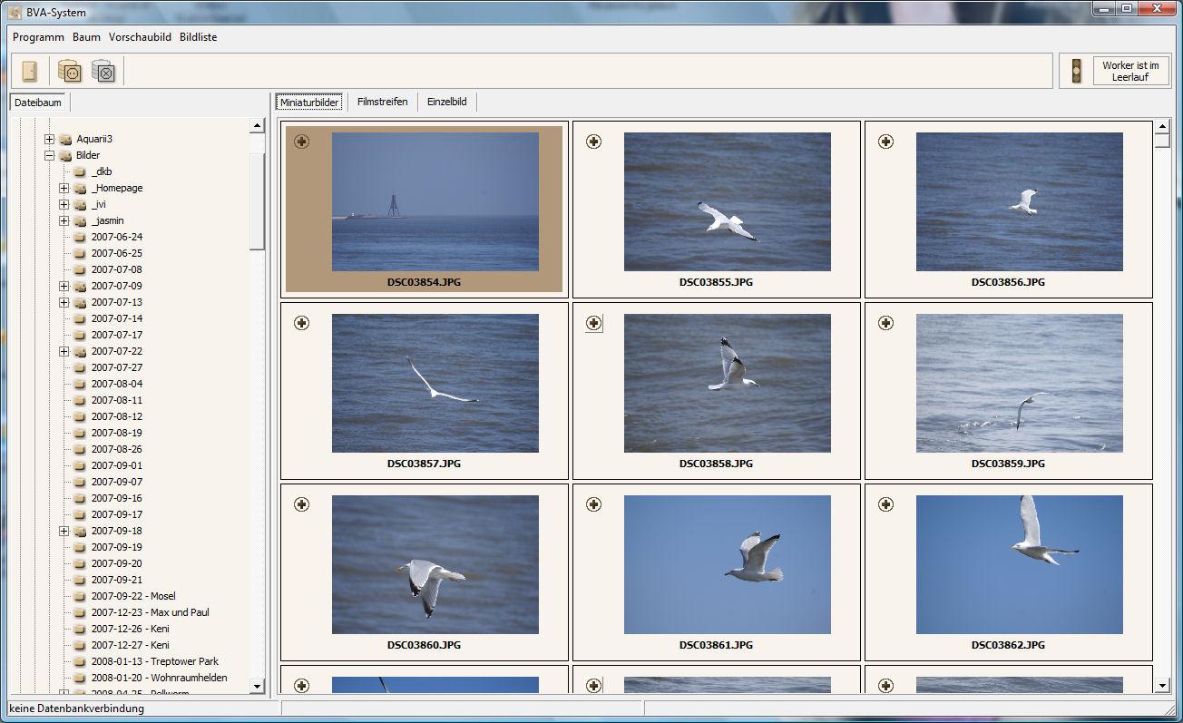 Miniaturbilder-Ansicht der Bilddatenbank BVASystem