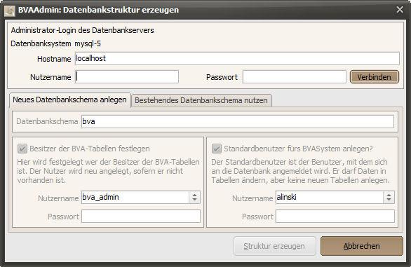 Administrationstool: Datenbankstruktur erzeugen