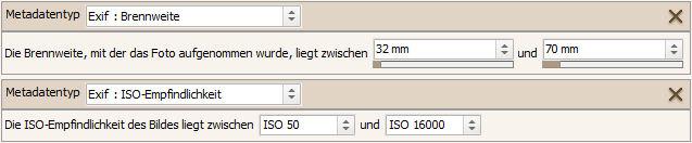Metadatenelemente Brennweite und ISO-Empfindlichkeit