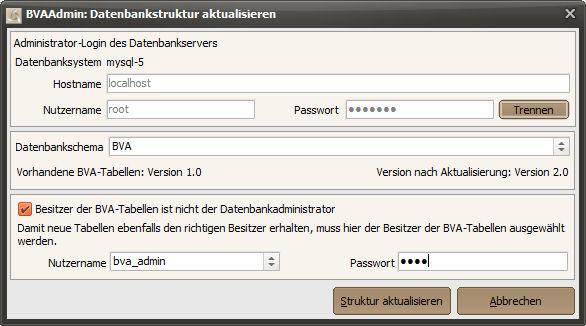 BVAAdmin - Datenbankstruktur aktualisieren