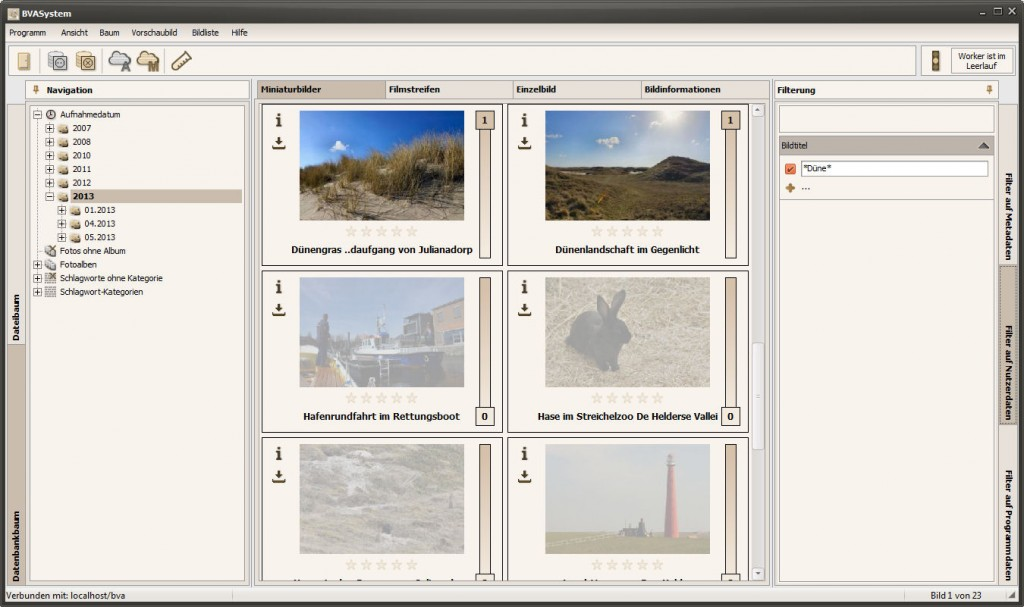 Bildfilterung nach Fotos deren Bildtitel Düne enthalten